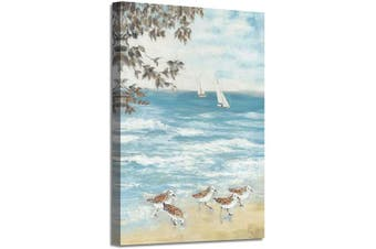 (90cm  x 60cm  x 1 panel, Ocean Hand Painted) - Abstract Coastal Canvas Artwork Picture: Beach Painting Hand Painted Seaside Birds Wall Art for Bedroom (90cm x 60cm x 1 Panel)