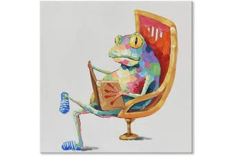 (80cm  x 80cm , Leisure Frog is Reading Book) - JAPO ART Funny Animal 100% Hand Painted Oil Painting with Stretched Frame Wall Art for Kids Room Bedroom Living Room Ready to Hang (Leisure Frog is Reading Book I, 80cm x 80cm )