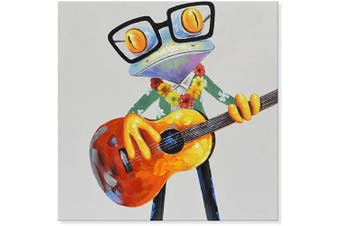 (80cm  x 80cm , Frog and Guitar) - JAPO ART - 100% Hand Painted Oil Painting Funny Animal with Stretched Frame Wall Art for Living Room Ready to Hang (Hawaiian Frogs Play Guitar, 80cm x 80cm )