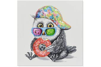 (60cm  x 60cm , Adorable Owl Eats Doughnut) - JAPO ART Animal Adorable Owl Eats Doughnut 100% Hand Painted Oil Painting with Stretched Frame Wall Art for Living Room Bedroom Home Decor 60cm x 60cm