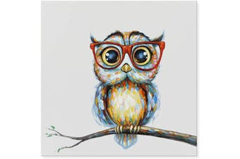 (80cm  x 80cm , Mrs Owl) - JAPO ART Funny Animal 100% Hand Painted Oil Painting with Stretched Frame Wall Art for Kids Room Bedroom Living Room Ready to Hang (Mrs Owl, 80cm x 80cm )