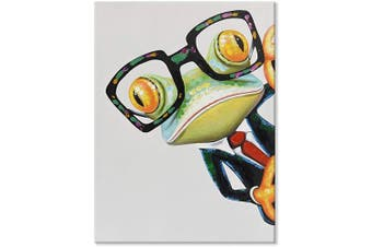 (60cm  x 80cm , Gentleman Frog) - JAPO ART Funny Animal 100% Hand Painted Oil Painting with Stretched Frame Wall Art for Kids Room Bedroom Living Room Ready to Hang (Gentleman Frog, 60cm x 80cm )