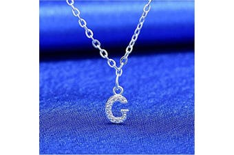 (G) - S925 Silver A-Z 26 Initial Crystal Pendant Chain Choker Necklace For Women Lady Girl