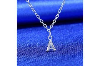 (A) - S925 Silver A-Z 26 Initial Crystal Pendant Chain Choker Necklace For Women Lady Girl