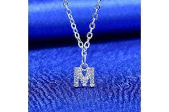 (M) - S925 Silver A-Z 26 Initial Crystal Pendant Chain Choker Necklace For Women Lady Girl