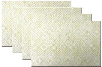 (4, B:yellow) - Bright Dream Placemats Washable Plastic Placemats Wipe Clean for Dinner Table Heat-resistand Woven Vinyl Outdoor Table Mats Set of 4(Yellow+White)