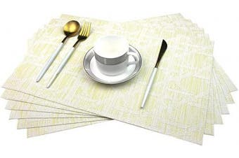 (6, A:yellow) - Bright Dream Placemats Washable Plastic Placemats Set Wipe Clean for Kitchen Table Heat-resistand Woven Vinyl Outdoor Table Mats 30cm x 46cm Set of 6(Yellow+White)