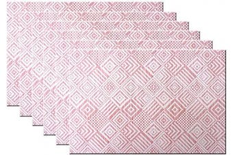 (6, B:red) - Bright Dream Placemats Washable Easy to Clean PVC Placemat for Kitchen Table Heat-resistand Woven Vinyl Hard Table Mats 30cm x 46cm Set of 6 (Red+White)