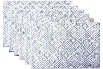 (6, B:navy) - Bright Dream Placemats Plastic for Kids Washable Easy Wipe Clean for Dinner Table Heat-resistand Woven Vinyl Outdoor Table Mats Set of 6(Navy+White)