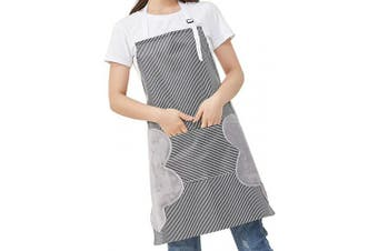 (Gray) - AARainbow 1 Pack Waterproof Oxford Cloth Adjustable Cooking Apron Easy to Use Chef Kitchen Smock Nail Bib Unisex Server Apron with 1 Big Pocket for Chef Women Kids Teen Girls Kids Men (Grey)