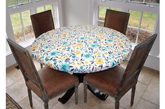 (Lg Round Elastic, Floating Floral) - Covers For The Home Deluxe Elastic Edged Flannel Backed Vinyl Fitted Table Cover - Floating Floral Pattern - Large Round - Fits Tables up to 110cm - 140cm Diameter