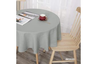 (140cm  Round, Grey) - Deconovo Solid Tablecloth Round for Dining Table Faux Linen Water Resistant Circular Table Cloth Grey 140cm