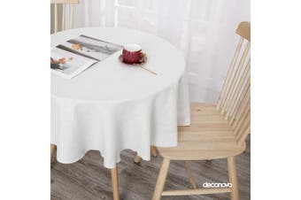 (150cm  Round, White) - Deconovo White Tablecloth for Round Tables Linen Look Water Resistant Faux Linen Round Tablecloth for Reception 150cm