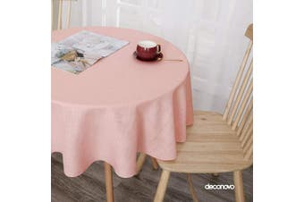 (150cm  Round, Pink) - Deconovo Round Tablecloth for Small Side Table 150cm Water Resistance Faux Linen Tablecloths for Dining Table Pink