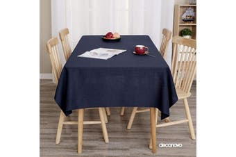 (60W x 84L Inch, Navy Blue) - Deconovo Solid Linen Look Tablecloths Water Resistant Rectangle Tablecloth for Party 150cm x 210cm for Reception Navy Blue
