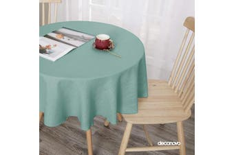 (140cm  Round, Slate) - Deconovo Decorative Solid Faux Linen Tablecloth for Party Picnic Water Resistant Table Cover for Round Table 140cm Slate