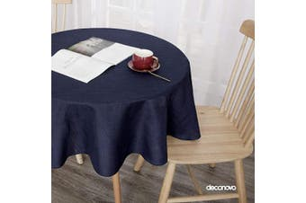 (140cm  Round, Navy Blue) - Deconovo Round Tablecloth for Party Solid Faux Linen Water Resistant Solid Circular Table Cover 140cm Navy Blue