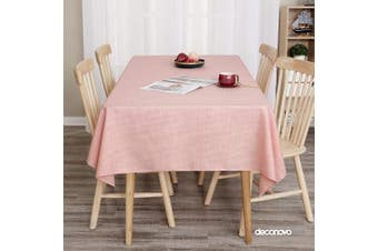 (54W x 102L Inch, Pink) - Deconovo Decorative Tablecloths for Reception Faux Linen Water Resistant Pink Tablecloth for Birthday Party 140cm x 260cm