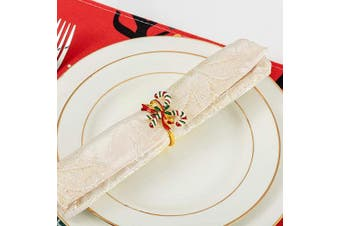 (Candy) - ANPHSIN Set of 6 Christmas Napkin Rings- Candy Cane with Holly and Berries Napkin Holder Rings for Christmas Holiday Party Dinner Wedding Banquet Dinning Table Settings Decoration