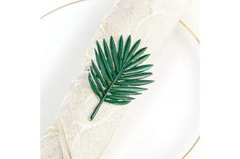 (Palm Leaf) - ANPHSIN Set of 6 Green Palm Leaf Napkin Rings- Silver Napkin Holder Rings Designed with Green Palm Leaf Ornament for Summer Holiday Party Dinner Wedding Banquet Dinning Table Settings Decoration