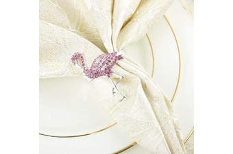 (Pink Flamingo) - ANPHSIN Set of 6 Pink Flamingo Napkin Rings- Silver Flamingo Shaped Napkin Holder Rings Full of Pink Rhinestones for Summer Holiday Party Dinner Wedding Banquet Dinning Table Settings Decoration