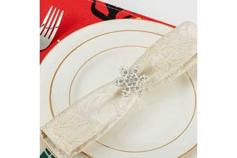 (White K) - ANPHSIN Set of 8 Christmas Napkin Rings- Snowflake with Sparkly Rhinestone Napkin Holder Rings for Christmas Holiday Party Dinner Wedding Banquet Dinning Table Settings Decoration (Silver)