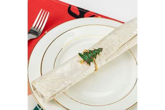 (Tree) - ANPHSIN Set of 6 Christmas Napkin Rings- Xmas Tree with Red Berries Napkin Holder Rings for Christmas Holiday Party Dinner Wedding Banquet Dinning Table Settings Decoration