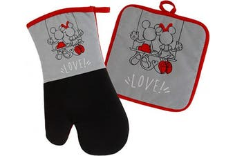 (Oven Mitt & Potholder Set, Grey/Red - Mickey & Minnie Swing) - Disney Kitchen Neoprene Oven Mitt and Potholder Set with Hanging Loop - Non-Slip Heat Resistant Kitchen Accessories with Premium Insulation Ideal for Handling Hot Kitchenware - Mickey and
