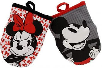 (Mini Oven Mitts- 2pk, White/Grey - Minnie Bows & Mickey Dots) - Disney Kitchen Neoprene Mini Oven Mitts, 2pk-Heat Resistant Oven Gloves with Insulation Ideal for Handling Hot Kitchenware-Non-Slip Grip, Hanging Loop, 14cm x 18cm - Minnie Bows and Mickey