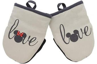 (Mini Oven Mitts- 2pk, White - Mickey & Minnie Love) - Disney Kitchen Neoprene Mini Oven Mitts, 2pk-Heat Resistant Oven Gloves with Insulation Ideal for Handling Hot Kitchenware-Non-Slip Grip, Hanging Loop, 14cm x 18cm – Mickey and Minnie Love