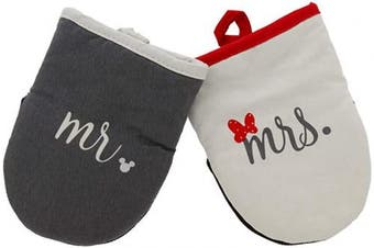 (Mini Oven Mitts- 2pk, Gray/White - Mr. and Mrs.) - Disney Kitchen Neoprene Mini Oven Mitts, 2pk - Heat Resistant Oven Gloves with Premium Insulation Ideal for Handling Hot Kitchenware - Non-Slip Grip, Hanging Loop, 14cm x 18cm - Mr. and Mrs.