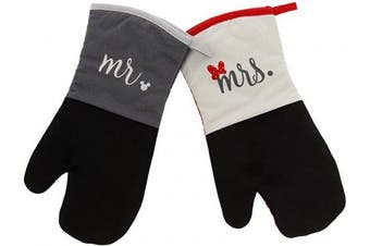 (Oven Mitts- 2pk, Gray/White - Mr. and Mrs.) - Disney Kitchen Neoprene Oven Mitts, 2pk - Non-Slip Heat Resistant Oven Gloves with Premium Insulation Ideal for Handling Hot Kitchenware-Ideal Kitchen Set with Hanging Loop, 39cm x 18cm - Mr & Mrs