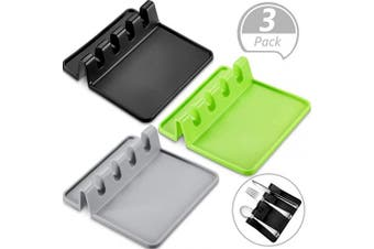 3 Pieces Kitchen Silicone Utensil Rest Cooking Utensil Holder Rest Spoon Rest with Drip Pad for Multiple Utensils, Stove Top, Spoons, Ladles, Tongs, 3 Colours