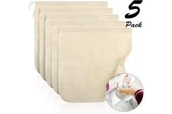 (Organic Cotton) - 5 Pieces Nut Milk Bag,30cm x 30cm , Reusable Multi-purpose Food Strainer Bag for Almond Milk, Juices, Oat Milk, Celery Juicing, Cheese, Yoghurt, Cold Brew Coffee and Tea (Organic Cotton)