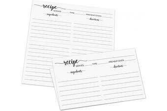 (Vintage (Folds to 7.6cm  x 13cm ), White) - 321Done Folding Recipe Cards (Set of 50) Folds to 3x5 from 6x5 - Black and White Minimalist - Retro Vintage Luxury - Made in USA - Double-Sided, Folded