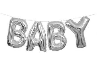(Baby - Silver) - Unique Party 53676 - Silver Foil Baby Letter Balloon Banner Kit