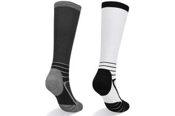 (White/Black, L (UK Shoes Size 5-8)) - Abida Compression Socks (2 Pairs) for Women & Men 15-22 mmHg Knee Hight Socks for Athletic Sports,Running, Flight, Travel Athletic Fit