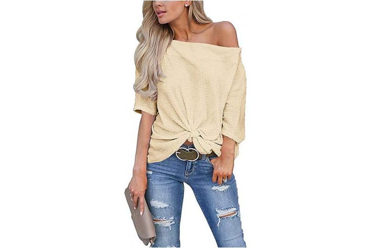 (XX-Large, Apricot) - LACOZY Women's Waffle Knit Off The Shoulder Tops Knot Batwing Shirt Tunic Blouse