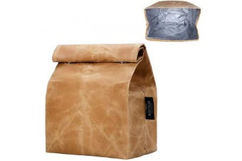Updated Waxed Canvas Lunch Bag, Waterproof Lunch Box with 2 Magnetic Buckles, Isolate Lining Inside, Reusable Lunch Bag, Eco-Friendly, Easy to Clean, Suitable for Men, Women, Kids