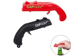 (Red+black) - 2PCS Creative Cap Gun Bottle Opener Cap Gun Launcher Shooter Beer Openers Mini Pistol-Shaped Bottle Opener Beverage Wrench Plastic Beer Bottle Opener for Home Bar Party Drinking Game (Red and Black)