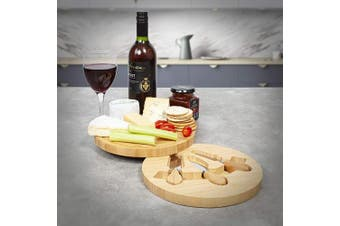 (Small Round(23 x 23 x 3.8 cm)) - woodluv Round Wooden Cheese Board Set With Groove and With Integrated Drawer & 3 Cheese Knives, 23 x 23 x 3.8cm