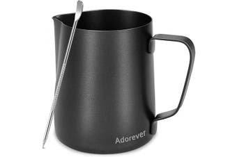 (20oz / 600ml, 3-black) - Milk Frothing Pitcher 600ml/20oz Steaming Pitchers Stainless Steel Milk Coffee Cappuccino Latte Art Barista Steam Pitchers Milk Jug Cup with Decorating Art Pen, Black