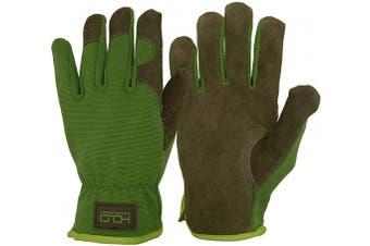 (Large, Yellow Black) - Men Women Leather Gardening Gloves, Utility Work Gloves for Mechanics, Construction, Driver, Dexterity Breathable Design (Large)