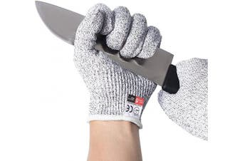 (M) - Convy GJ-0056 Cut Resistant Gloves, Safety Cutting Gloves Food Grade Level 5 Protection for kitchen, Transverse Knitting Tech, 1 Pair, Medium