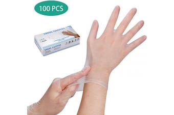 (2020 Upgraded) (100pcs) Disposable PVC Gloves, Safe-Touch Powder Free Food Grade Gloves, Natural Rubber Gloves (M)