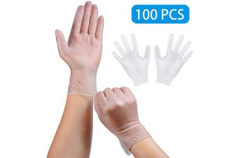 (2020 Upgraded) (100pcs) Disposable PVC Gloves, Safe-Touch Powder Free Food Grade Gloves, Natural Rubber Gloves (L)