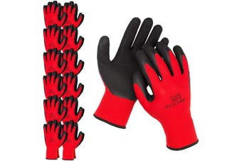 (X-Large, Red / Black (Premium)) - ACKTRA Premium Coated Nylon Safety WORK GLOVES 12 Pairs, Knit Wrist Cuff, for Gardening and General Purpose, for Men & Women, WG009 Red Polyester, Black Latex, X-Large