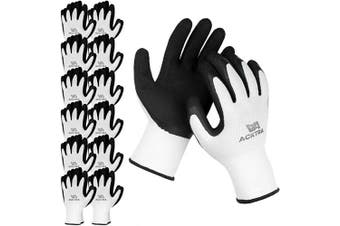 (X-Large, White / Black (Premium)) - ACKTRA Premium Coated Nylon Safety WORK GLOVES 12 Pairs, Knit Wrist Cuff, for Gardening and General Purpose, for Men & Women, WG009 White Polyester, Black Latex, X-Large
