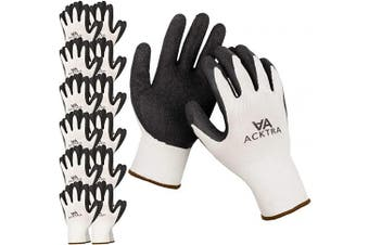 (X-Large, White / Black) - ACKTRA Coated Nylon Safety WORK GLOVES 12 Pairs, Knit Wrist Cuff, Multipurpose, for Men & Women, WG008 White Polyester, Black Latex, X-Large