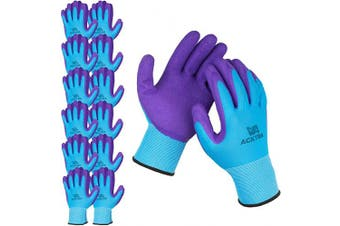 (X-Large, Blue / Purple (Premium)) - ACKTRA Premium Coated Nylon Safety WORK GLOVES 12 Pairs, Knit Wrist Cuff, for Gardening and General Purpose, for Men & Women, WG009 Blue Polyester, Purple Latex, X-Large